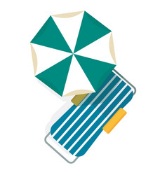 chaise longue and umbrella vector image