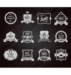Chalkboard sales labels icons collection vector