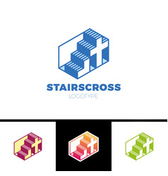 christian logo with stairs and cross in simple vector image