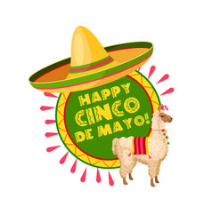 cinco de mayo mexican party sombrero greeting card vector image