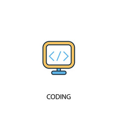 coding concept 2 colored line icon simple yellow vector image