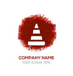 cone icon - red watercolor circle splash vector image