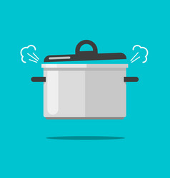 cooking food in coiling pan or hot saucepan vector image