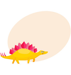 cute and funny smiling baby stegosaurus dinosaur vector image