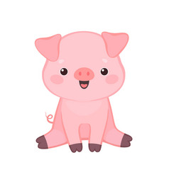 cute cartoon pig sitting and smiling vector image