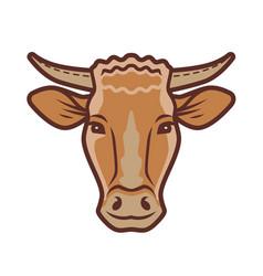 cute cow portrait symbol farm animal food vector image