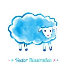 Cute watercolor sheep vector