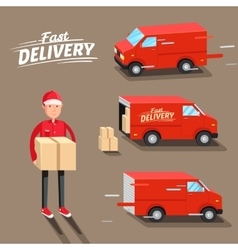 Delivery Concept Fast delivery van Delivery man vector