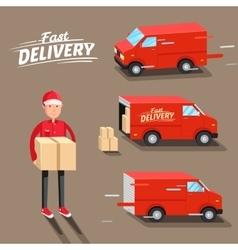 delivery concept fast van man vector image