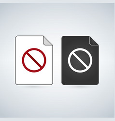 document file icon with forbid sign flat sign for vector image