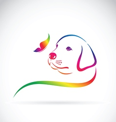 Dog and butterfly vector