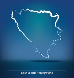 Doodle Map of Bosnia and Herzegovina vector