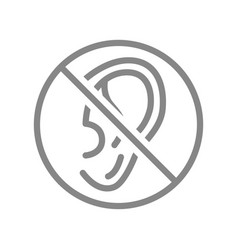 Ear with prohibition sign line icon vector