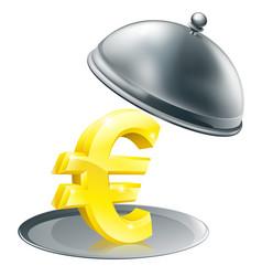 Euro on silver platter concept vector