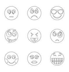 facial animation icons set outline style vector image