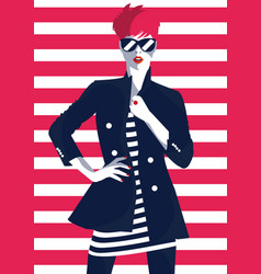 fashion woman in style pop art fashion art vector image