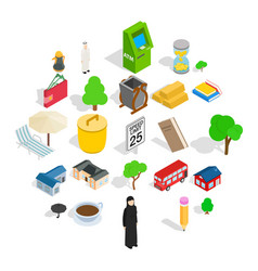 Financial district icons set isometric style vector