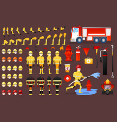 firefighter character creation constructor vector image