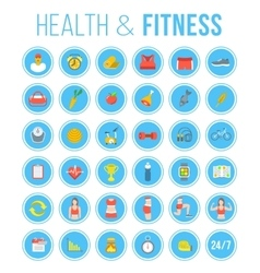 Fitness gym and healthy lifestyle flat round vector image