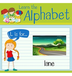 Flashcard letter L is for lane vector