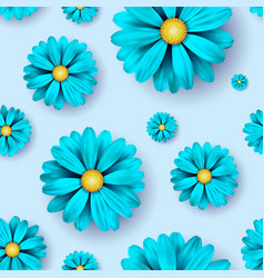 Flower seamless pattern background with realistic vector