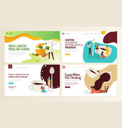 Food and drink web page design templates vector
