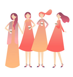 girls having holding drinking coffee laughing vector image