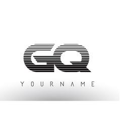 gq g q black and white horizontal stripes letter vector image