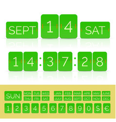 Green flat countdown timer with numbers and vector