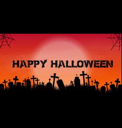 Halloween banner with graveyard silhouette vector