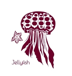 Hand drawn tattoo stylized jellyfish Marine life vector