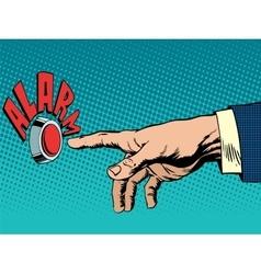 Hand presses alarm button vector