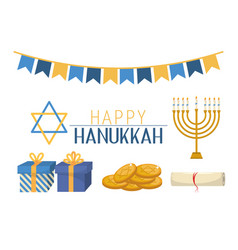 Hanukkah presents and david star celebration vector