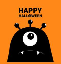 Happy halloween monster head silhouette one eye vector