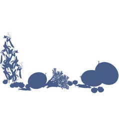 harvest of vegetables silhouettes of different vector image