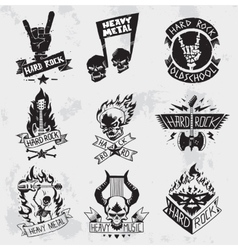 Heavy metal rock badges set vector