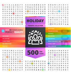 holiday thematic collection of line icons vector image
