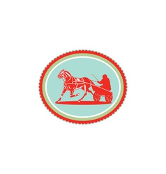 Horse and Jockey Harness Racing Rosette Retro vector image