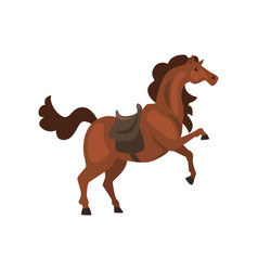 Horse with saddle on a white vector