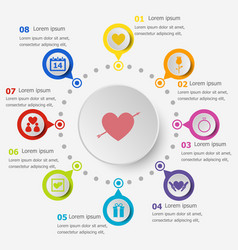 Infographic template with valentines icons vector