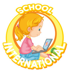 International school logo design with girl vector