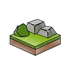 isometric bush and stone design vector image