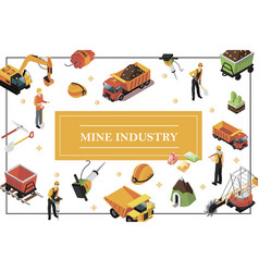 Isometric mining industry concept vector