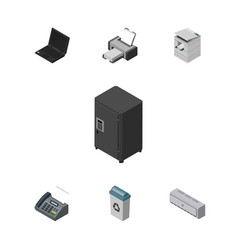 Isometric office set of strongbox printing vector