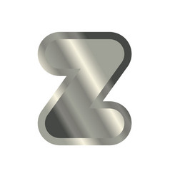 letter z steel font metal alphabet sign iron abc vector image
