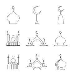 Line arabic dome of mosque set vector