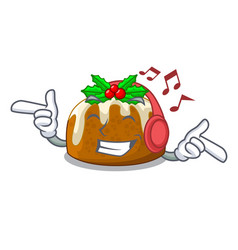 Listening music christmas pudding on dinning table vector