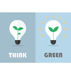 Little plant inside a light bulb Green eco energy vector image