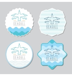 Logo seagull and waves vector