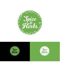 logo spice herbs circle vector image